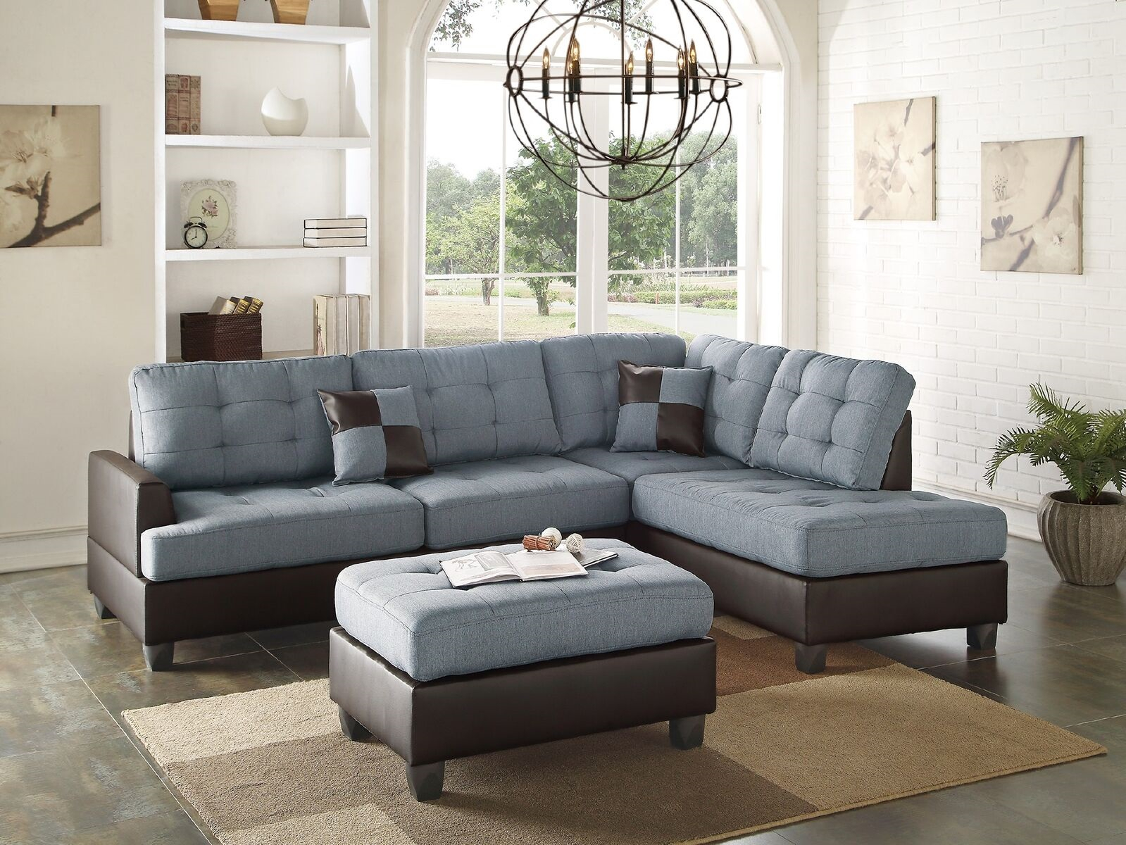 Mathew Sectional Sofa Set Contemporary Grey Linen Like Regarding 4Pc Crowningshield Contemporary Chaise Sectional Sofas (View 1 of 15)