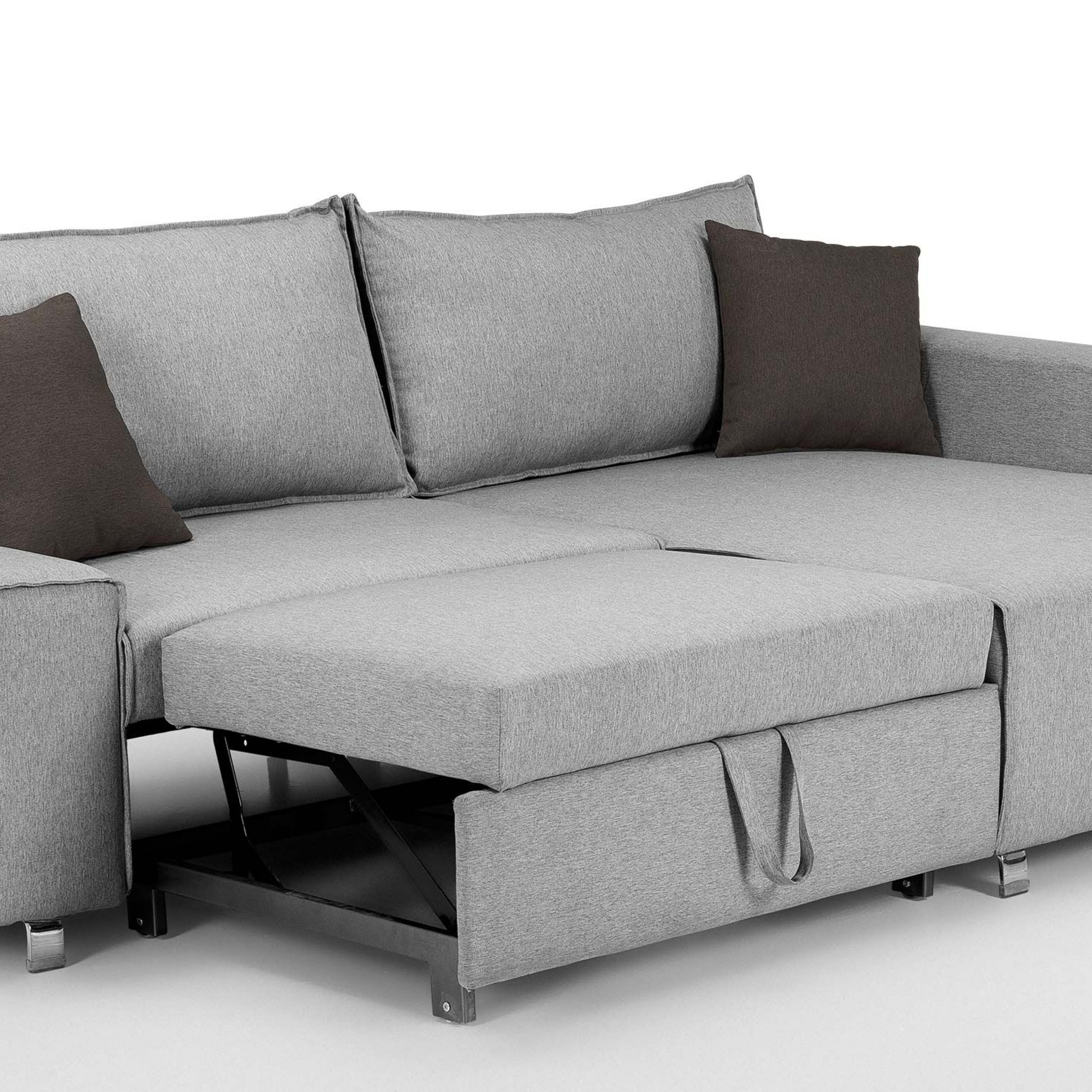 Mayne Right Hand Facing Corner Sofa Bed, Clear Grey Stone Throughout Dulce Right Sectional Sofas Twill Stone (View 12 of 15)