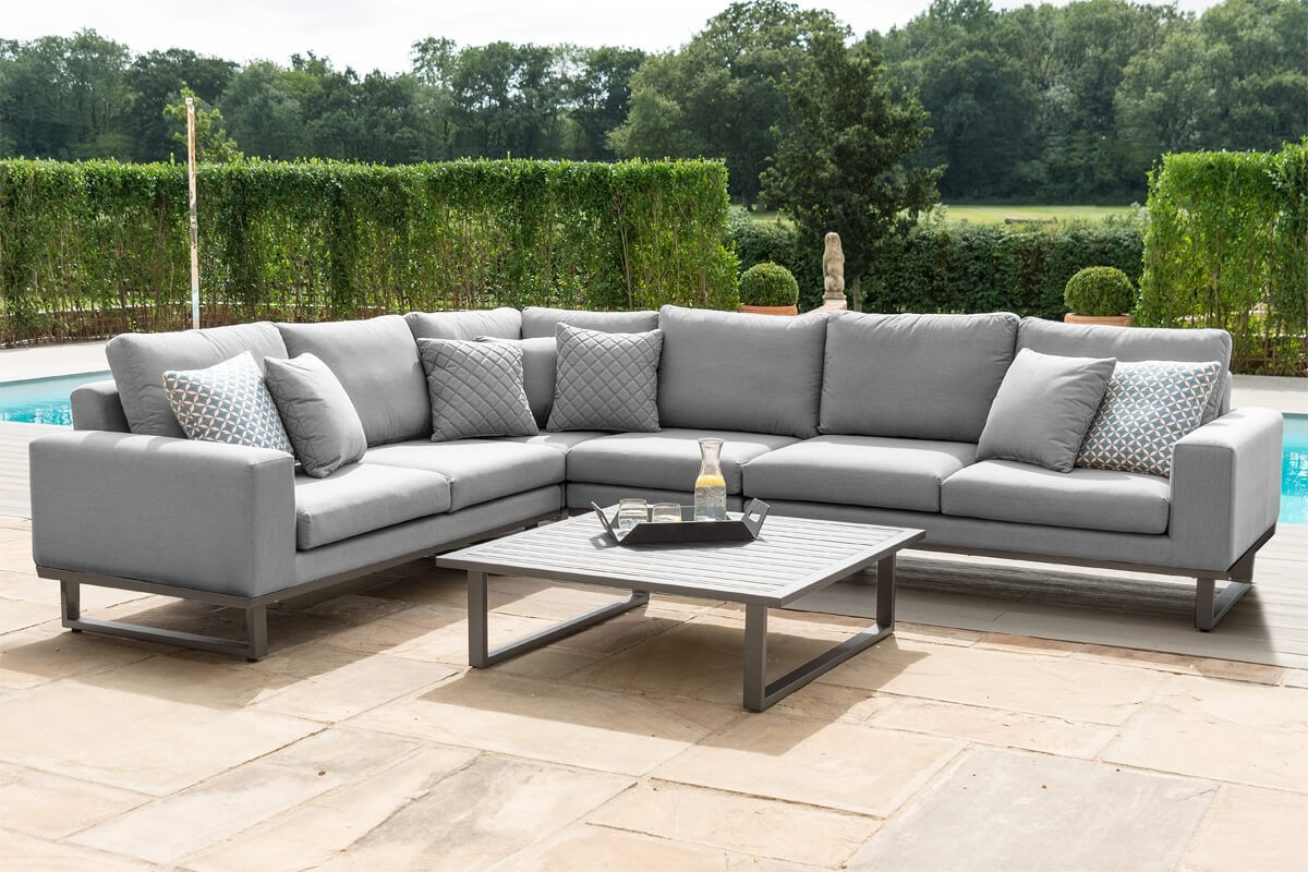 Maze Ethos Outdoor Fabric Large Corner Garden Sofa Set With Big Sofa Chairs (View 5 of 15)