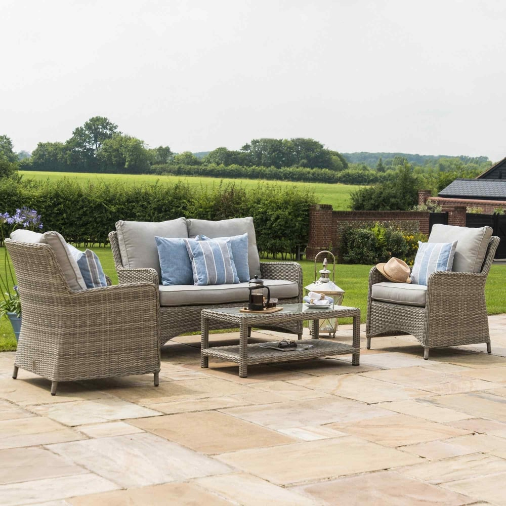 Maze Rattan Oxford High Back Sofa Set | Garden Street Pertaining To Sofas With High Backs (View 6 of 15)