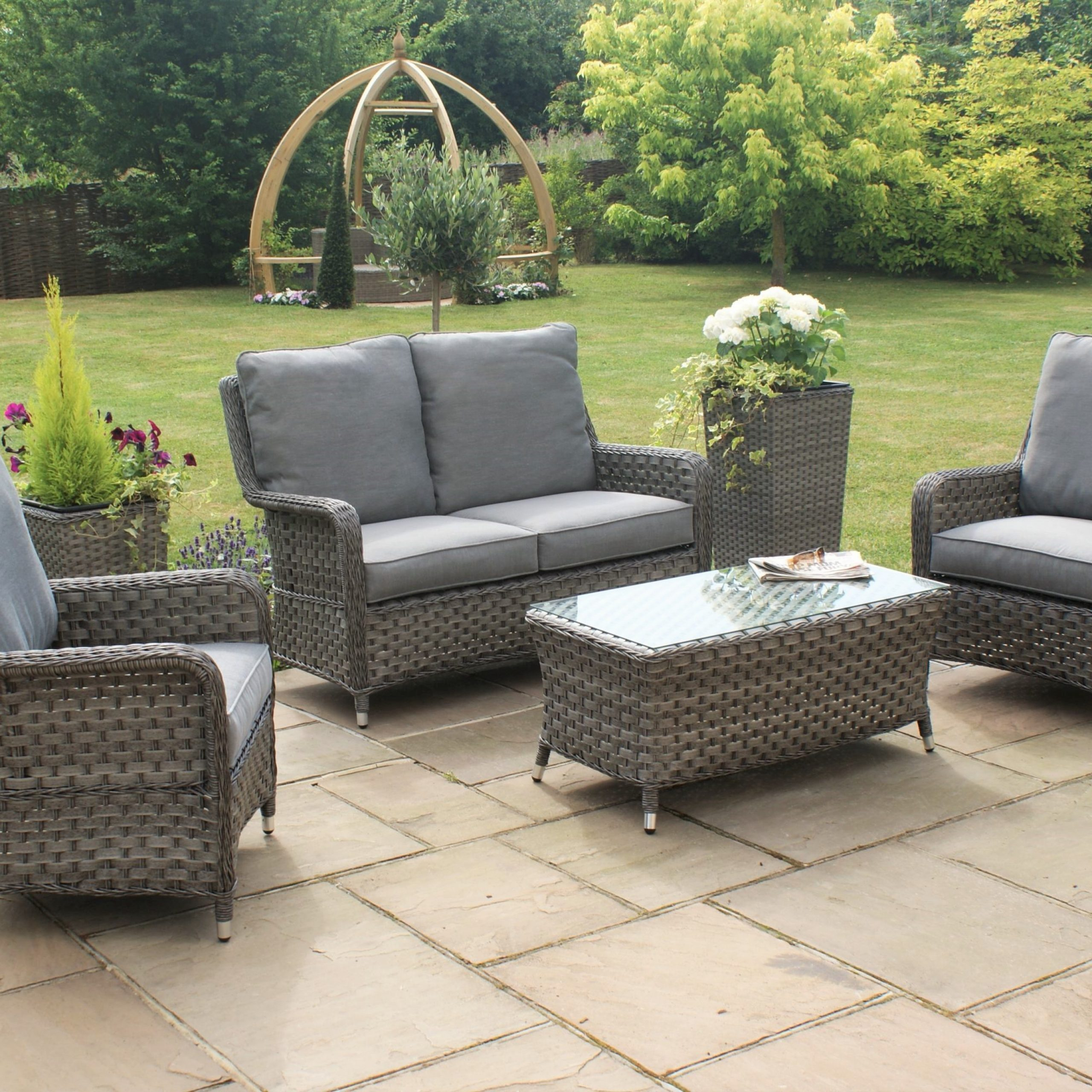 Maze Rattan Victoria 2 Seat High Back Sofa Set | Rattan Pertaining To Sofa With Chairs (View 15 of 15)