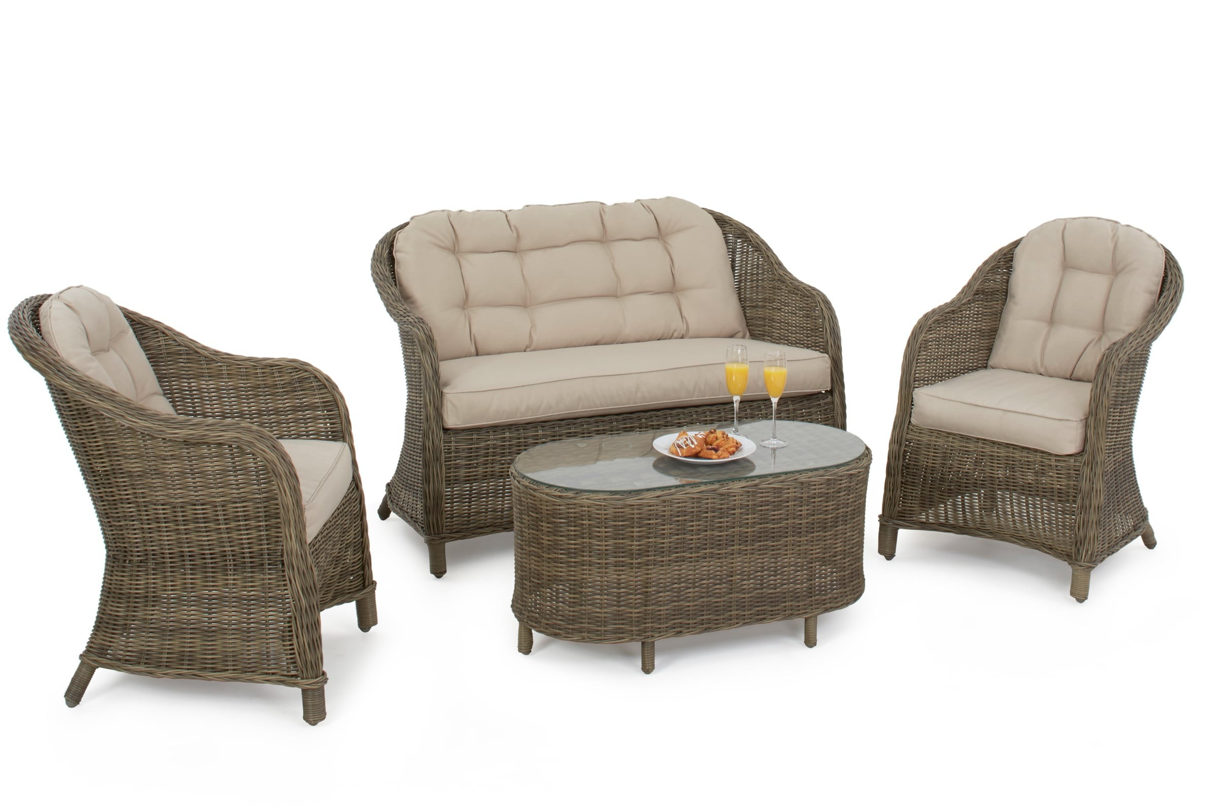 Maze Rattan Winchester Round High Back Sofa Set | Rattan Within Sofas With High Backs (View 10 of 15)