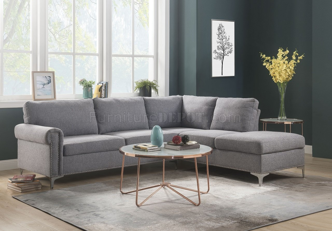 Melvyn Sectional Sofa 52755 In Gray Fabricacme W/Options Pertaining To Gneiss Modern Linen Sectional Sofas Slate Gray (View 8 of 15)