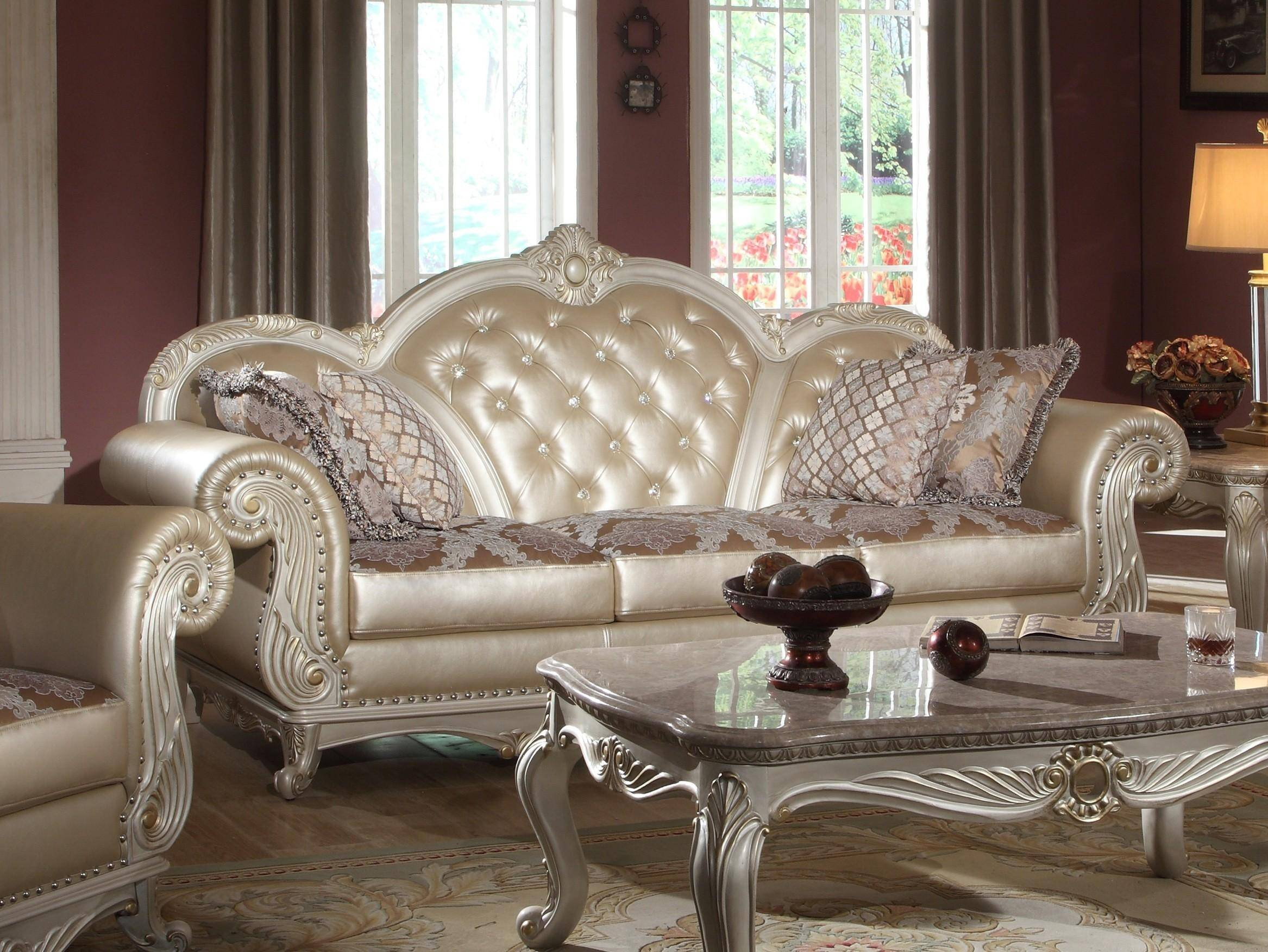 Meridian 652 Marquee Pearl White Living Room Sofa Set 3Pcs With Regard To Sofa Chairs For Living Room (View 10 of 15)