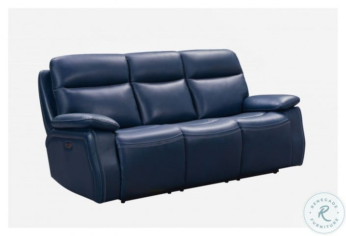 Micah Marco Navy Blue Leather Match Power Reclining Sofa For Marco Leather Power Reclining Sofas (View 1 of 15)