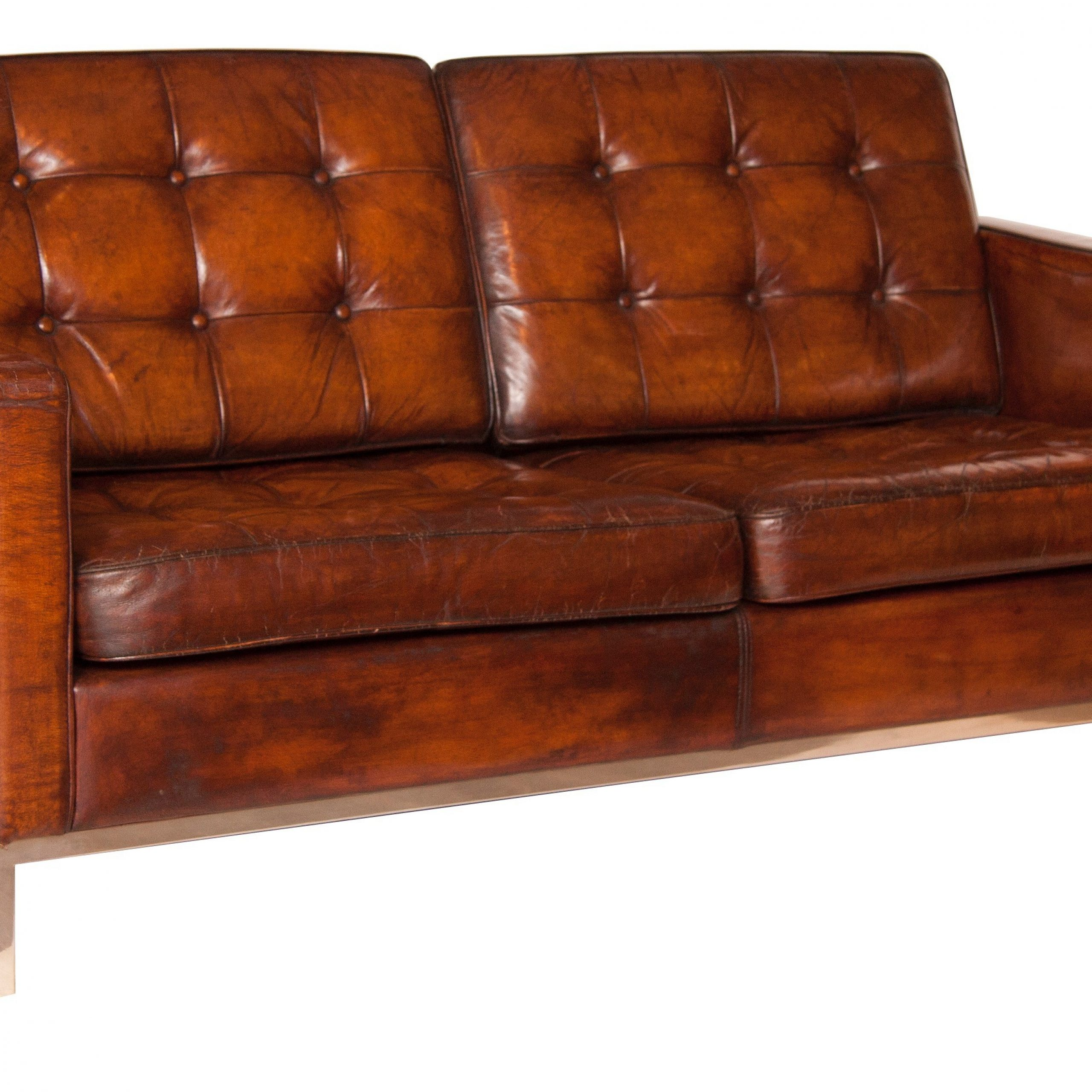 Mid Century Brown Leather Sofa,Florence Knoll – 1954 Inside Florence Mid Century Modern Right Sectional Sofas (View 6 of 15)