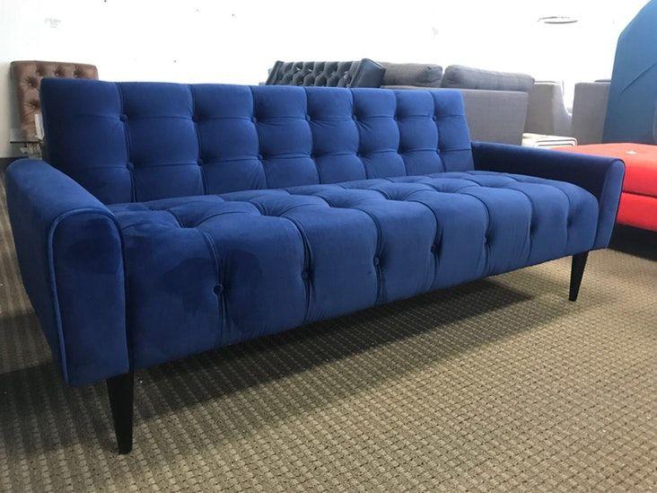 Mid Century Modern Blue Velvet Tufted Sofa   Velvet Tufted For Dove Mid Century Sectional Sofas Dark Blue (View 1 of 15)