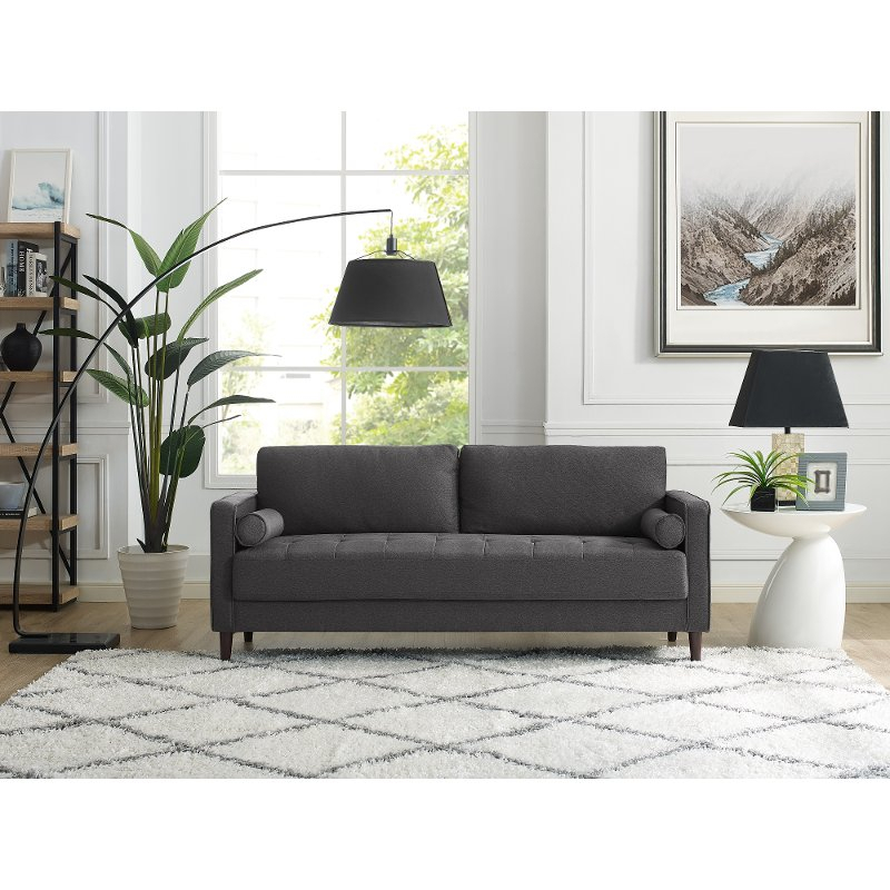 Mid Century Modern Dark Gray Sofa – Lawrence   Rc Willey Inside Dove Mid Century Sectional Sofas Dark Blue (View 12 of 15)