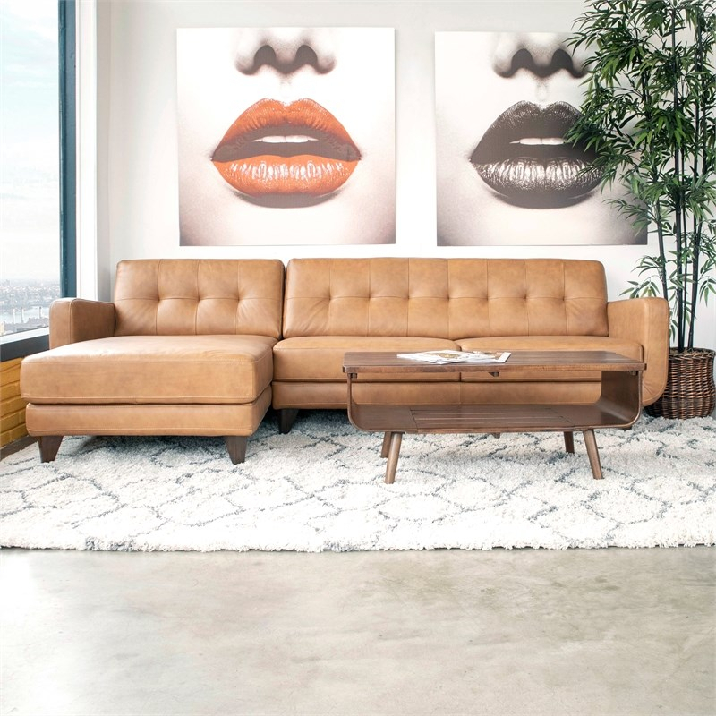 Mid Century Modern Davis Tan Genuine Leather Sectional For Florence Mid Century Modern Left Sectional Sofas (View 8 of 15)