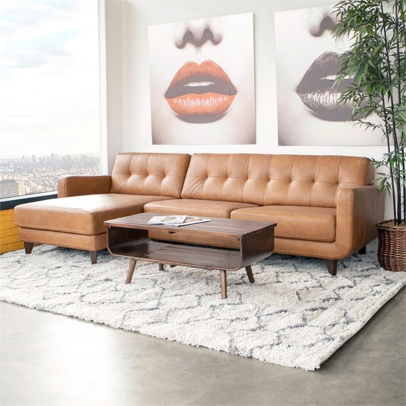 Mid Century Modern Davis Tan Genuine Leather Sectional Within Florence Mid Century Modern Left Sectional Sofas (View 5 of 15)