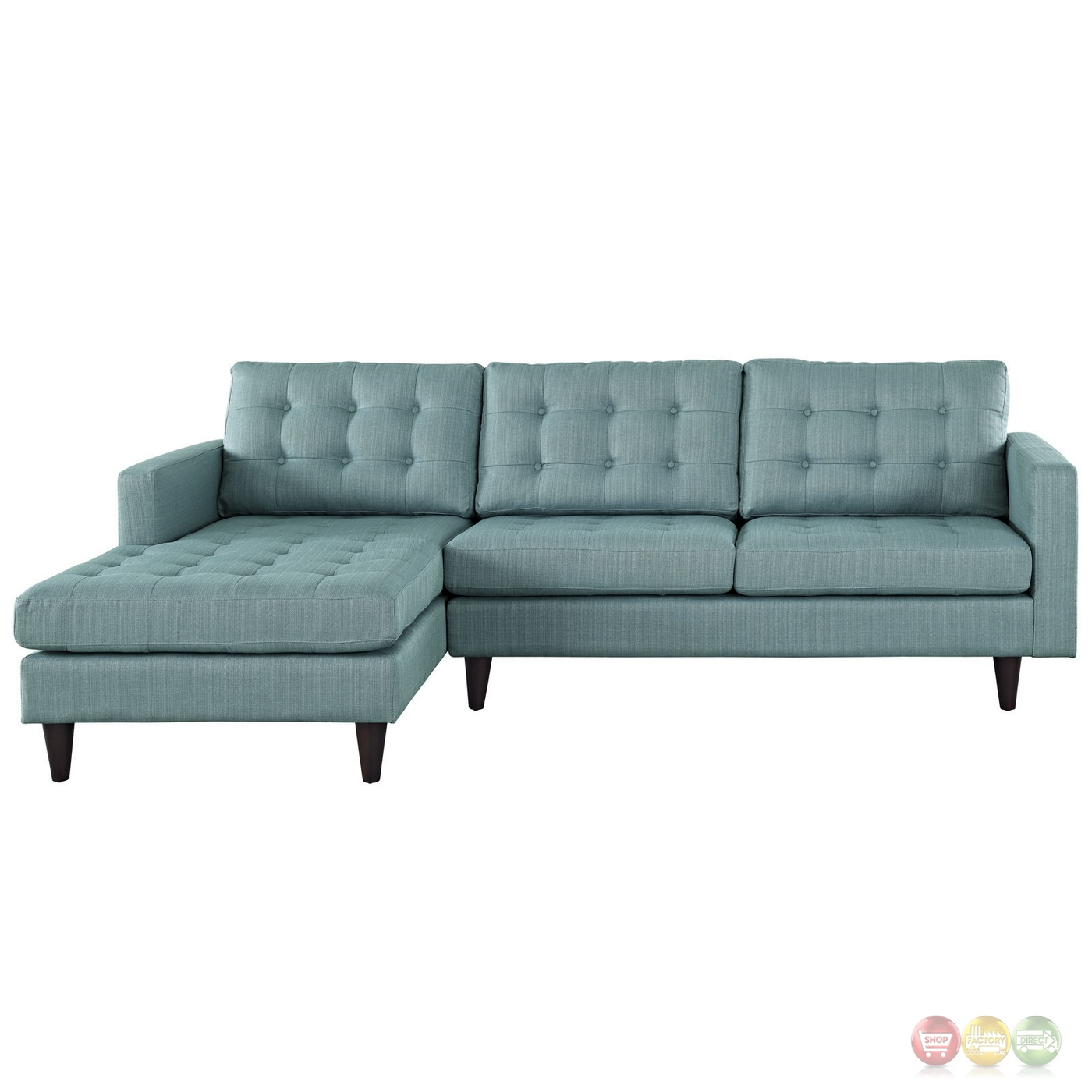 Mid Century Modern Empress Left Facing Button Tufted With Regard To Florence Mid Century Modern Left Sectional Sofas (View 6 of 15)