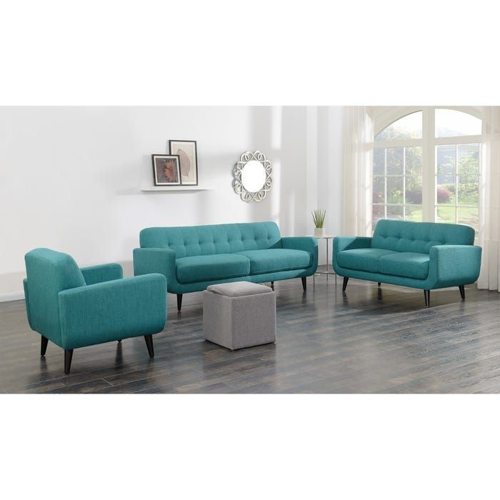 Mid Century Modern Hadley Sofa Aqua   Picket House For Hadley Small Space Sectional Futon Sofas (View 6 of 15)