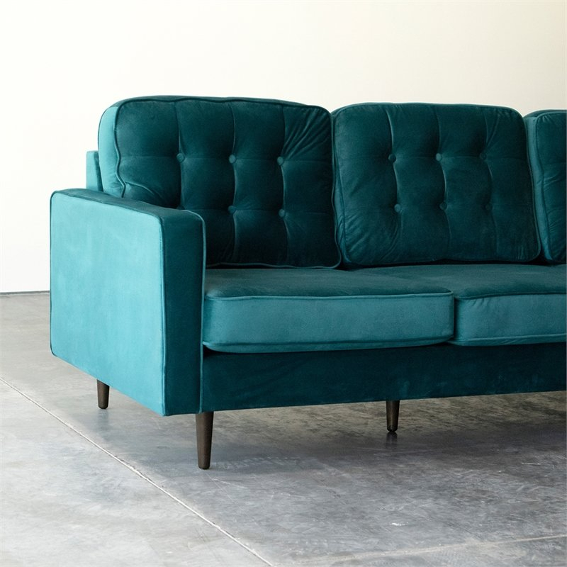 Mid Century Modern Kayle Teal Velvet Reversible Sectional Regarding Verona Mid Century Reversible Sectional Sofas (View 3 of 15)