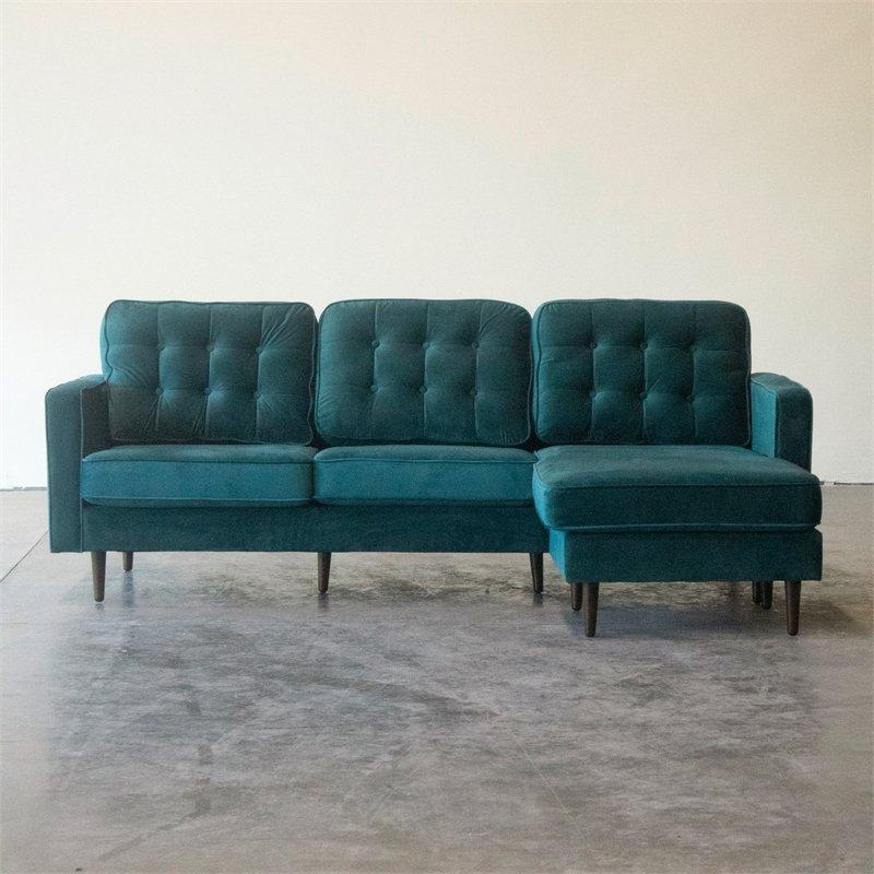Mid Century Modern Kayle Teal Velvet Reversible Sectional Regarding Verona Mid Century Reversible Sectional Sofas (View 9 of 15)