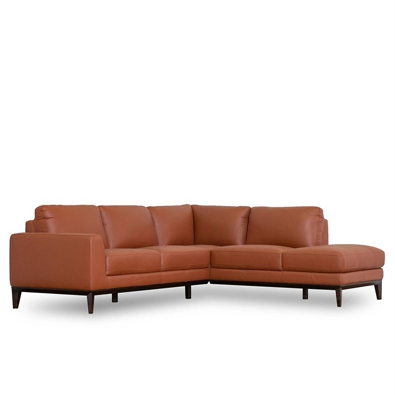 Mid Century Modern Milton Orange Leather Sectional Sofa For Florence Mid Century Modern Right Sectional Sofas (View 2 of 15)