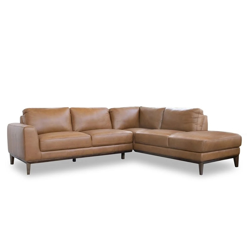 Mid Century Modern Milton Tan Leather Sectional Sofa With Regard To 4Pc Crowningshield Contemporary Chaise Sectional Sofas (View 3 of 15)