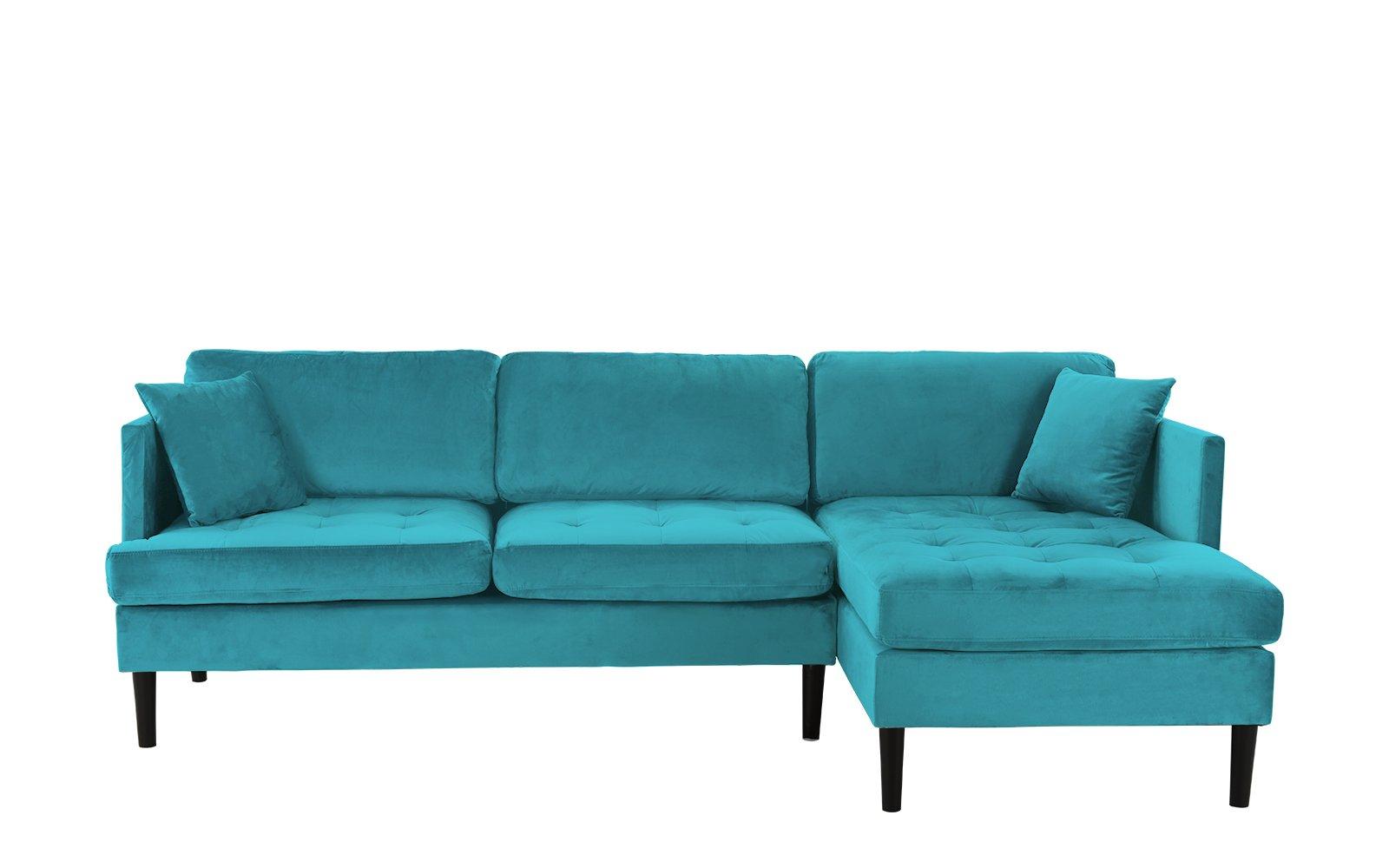 Mid Century Modern Tufted Velvet Sectional Sofa, Classic L Regarding Dulce Mid Century Chaise Sofas Dark Blue (View 3 of 15)
