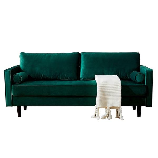 Mid Century Modern Velvet Fabric Bench Sectional Couch Intended For Somerset Velvet Mid Century Modern Right Sectional Sofas (View 7 of 15)