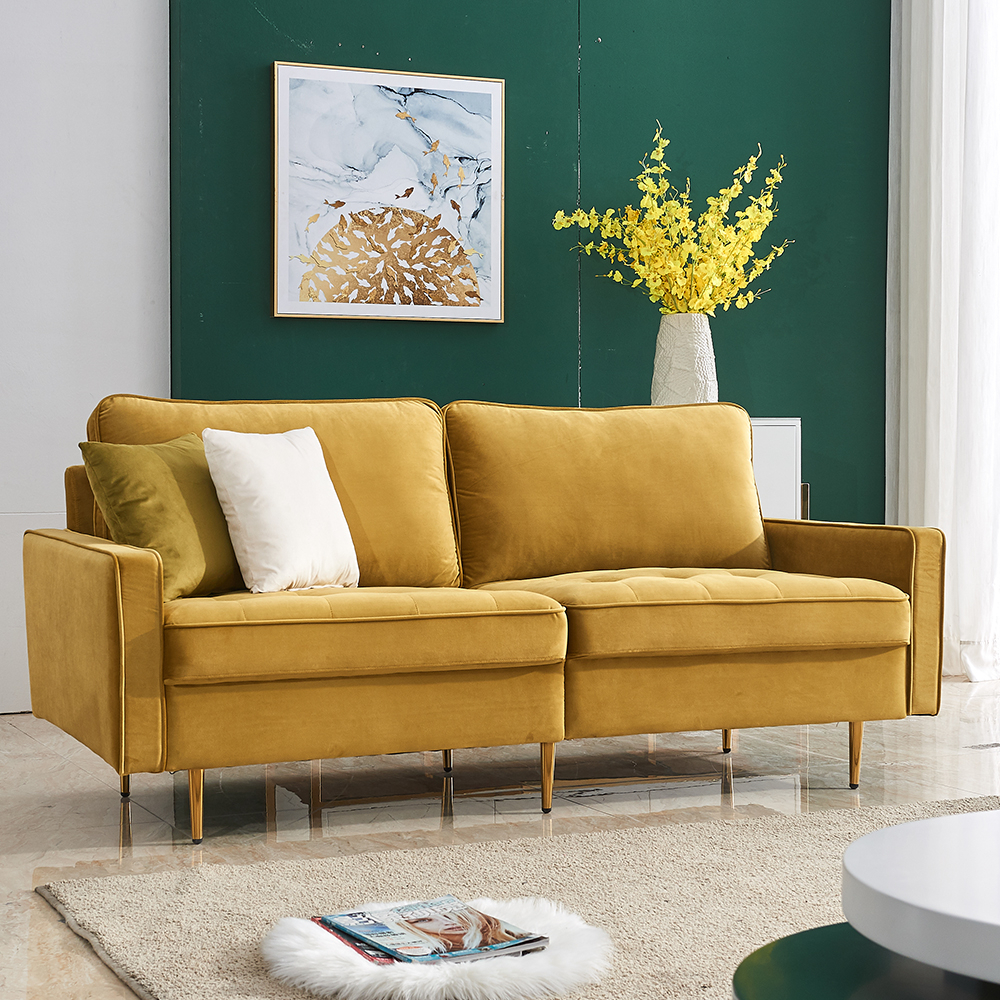 Mid Century Sectional Sofa Couch, Upholstered Couch With Pertaining To Yellow Sofa Chairs (View 10 of 15)