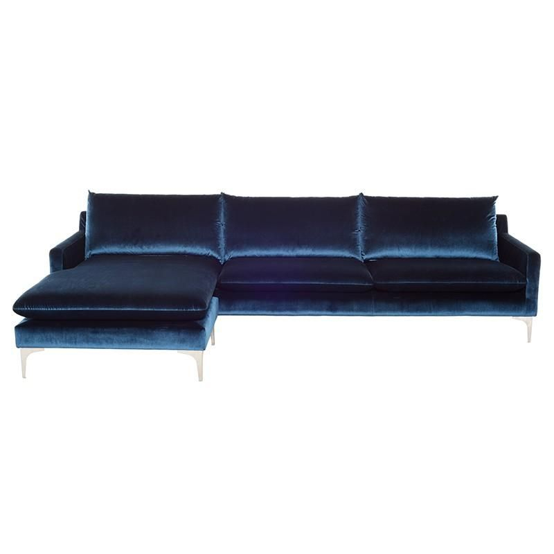 Midnight Blue Velvet Sofas, Loveseats, And Sectionals Throughout Dulce Mid Century Chaise Sofas Dark Blue (View 13 of 15)