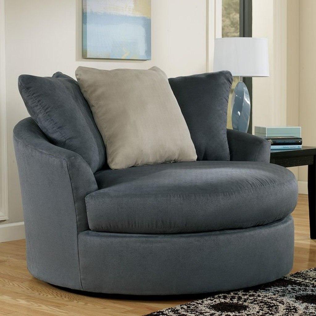 Mindy – Indigo Oversized Round Swivel Chair Signature Pertaining To Round Swivel Sofa Chairs (View 10 of 15)