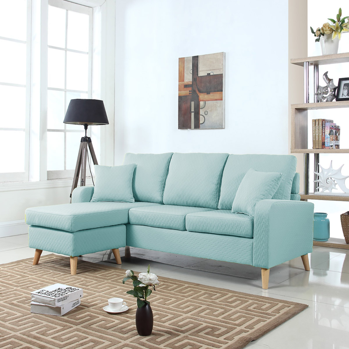 Mobilis Mid Century Modern Small Space Linen Fabric Inside Verona Mid Century Reversible Sectional Sofas (View 2 of 15)