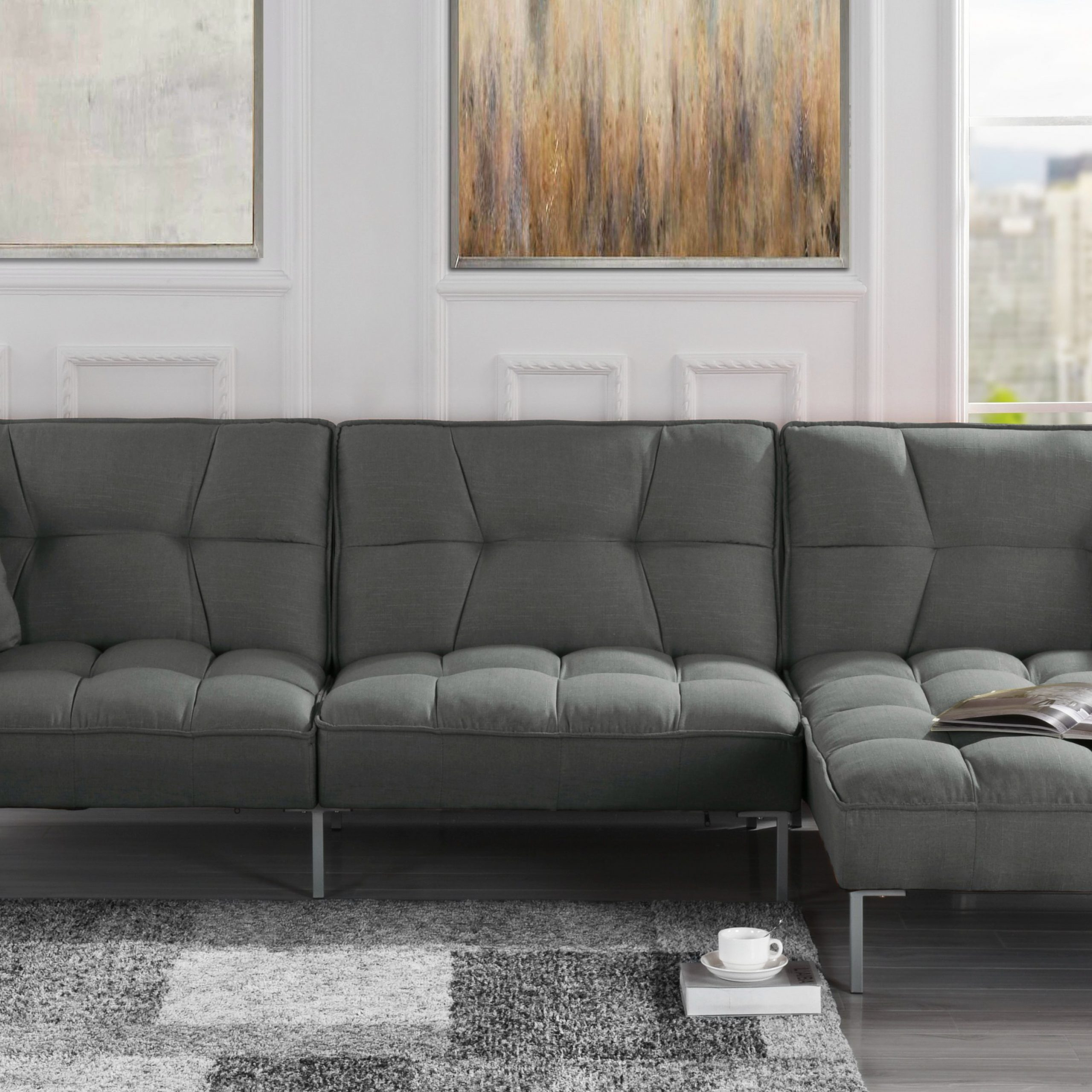 Mobilis Modern Square Tufted Linen Fabric Sectional Sofa For Polyfiber Linen Fabric Sectional Sofas Dark Gray (View 2 of 15)