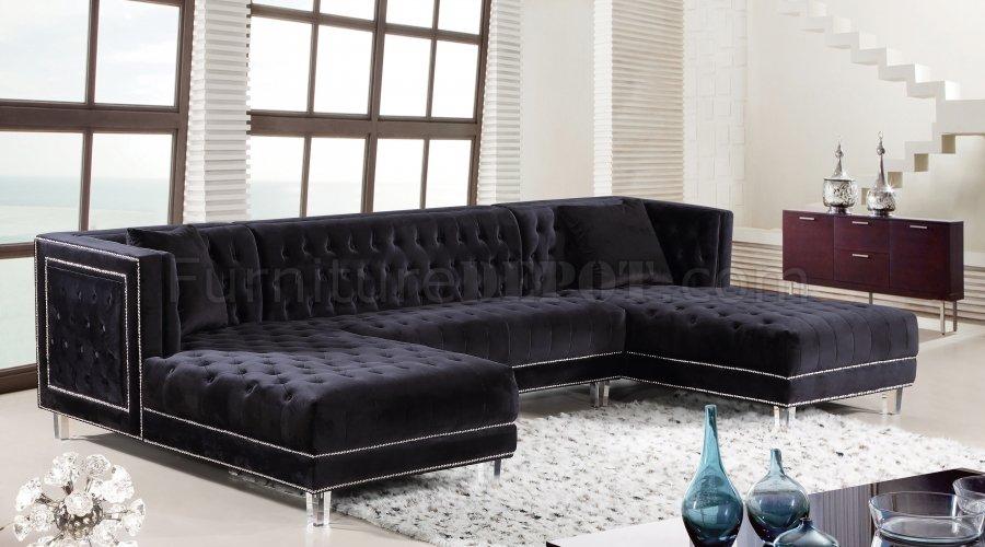 Moda Sectional Sofa 631 In Black Velvet Fabricmeridian Regarding Strummer Velvet Sectional Sofas (View 7 of 15)