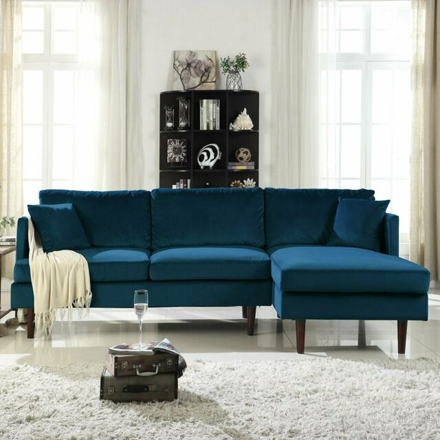 Modern Brush Microfiber Sectional Sofa, L Shape Couch W In Dulce Mid Century Chaise Sofas Dark Blue (View 2 of 15)
