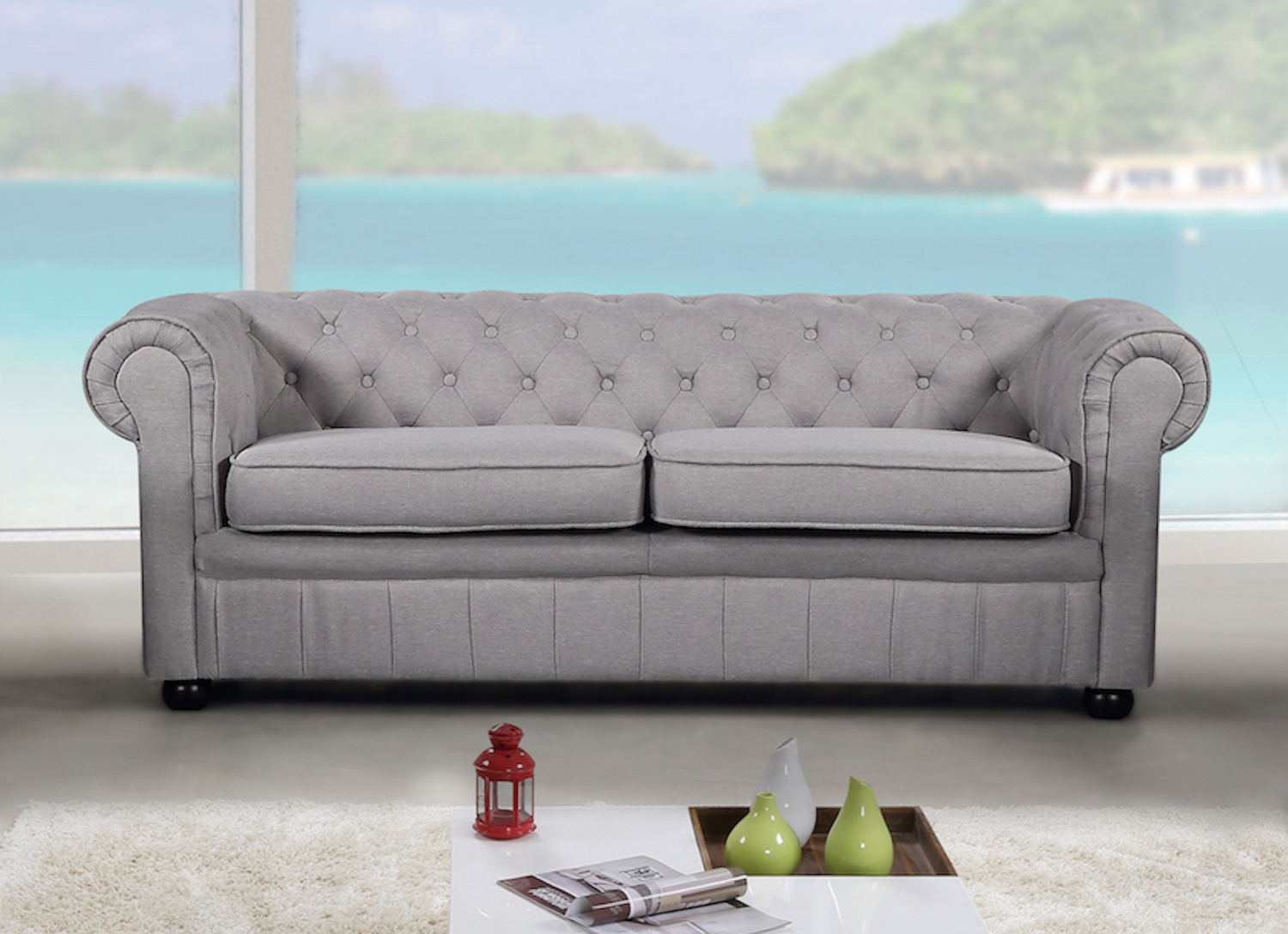 Modern Chesterfield Style Sofa – Light Grey Fabric Throughout Ludovic Contemporary Sofas Light Gray (View 11 of 15)