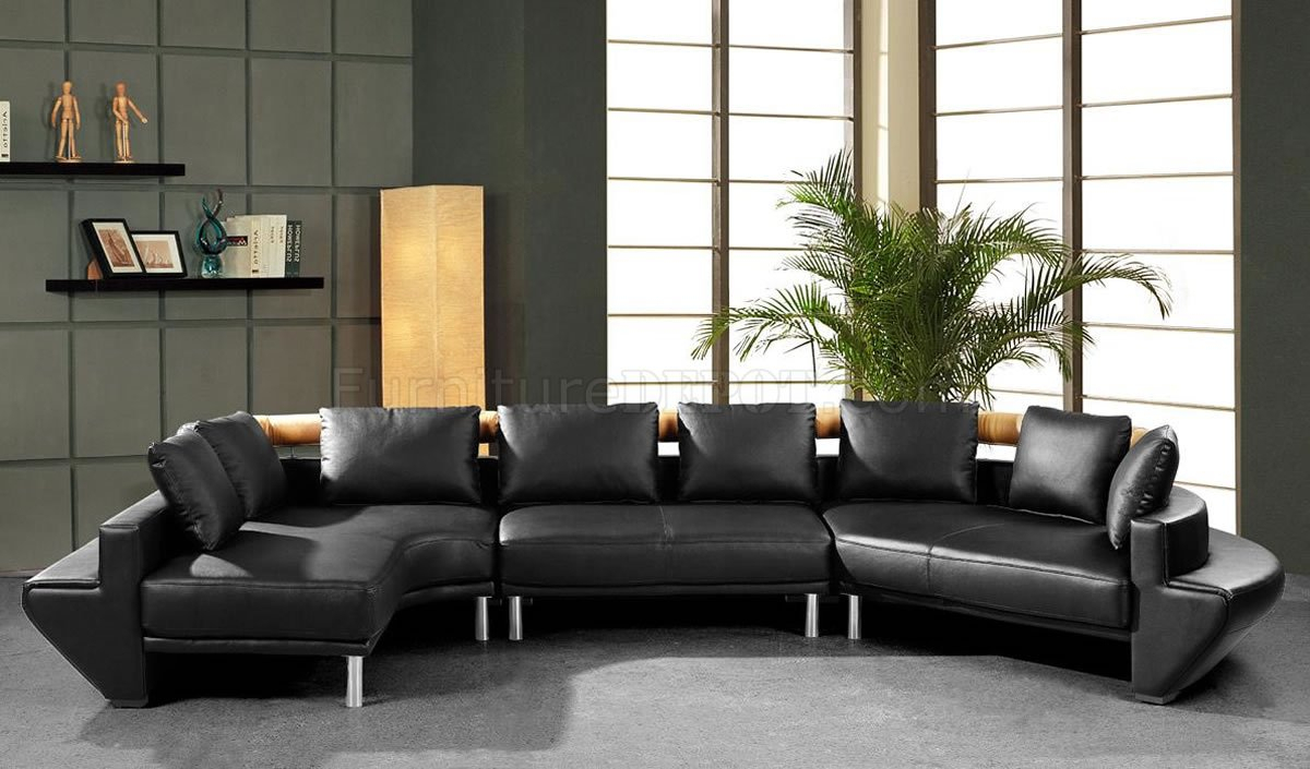 Modern Full Leather Sectional Sofa Mars Black Throughout Contemporary Sofas And Chairs (View 7 of 15)