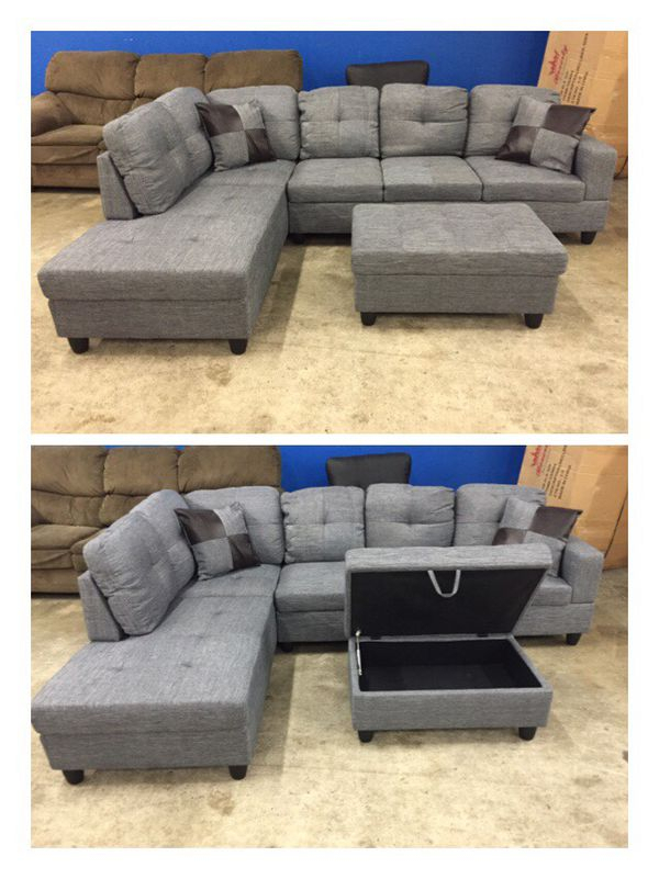 Modern Grey Linen Sectional Couch For Sale In Kirkland, Wa In Gneiss Modern Linen Sectional Sofas Slate Gray (View 14 of 15)