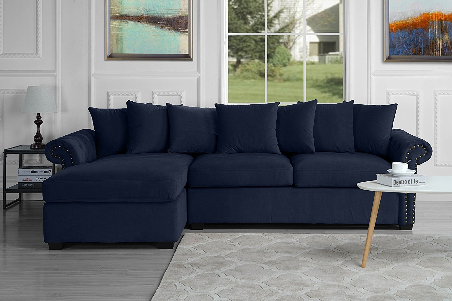 Modern Large Tufted Velvet Sectional Sofa, Scroll Arm L Throughout Dream Navy 2 Piece Modular Sofas (View 9 of 15)
