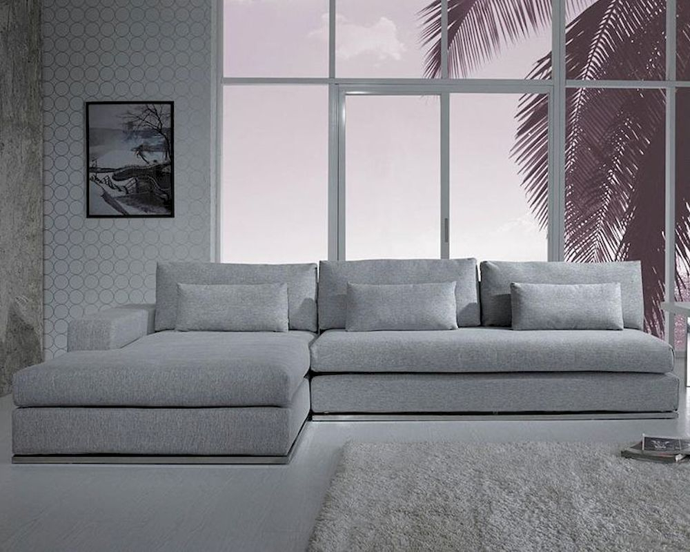Modern Light Grey Fabric Sectional Sofa 44L6096 With Regard To Mireille Modern And Contemporary Fabric Upholstered Sectional Sofas (View 15 of 15)