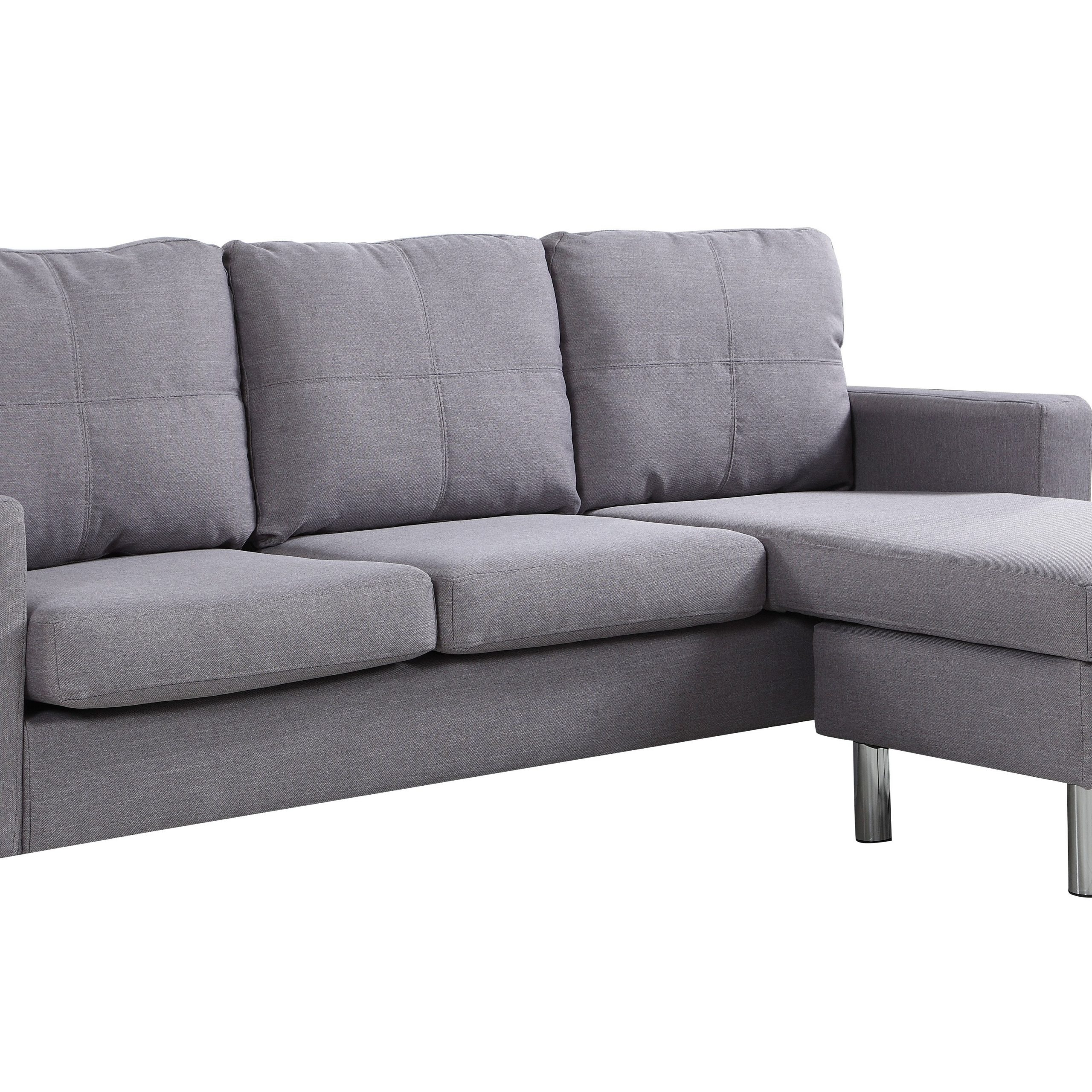Modern Living Reversible Fabric Sectional Sofa, Light Grey Throughout 2Pc Crowningshield Contemporary Chaise Sofas Light Gray (View 4 of 15)