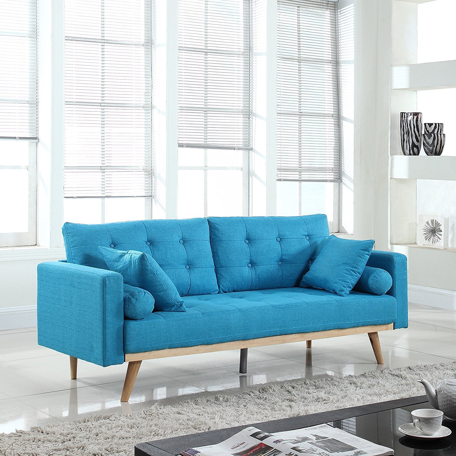 Modern Tufted Linen Fabric Sofa (Light Blue) – Rochester For Blue Sofa Chairs (View 9 of 15)