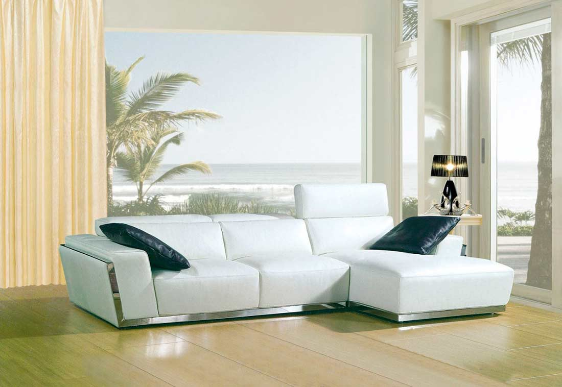 Modern White Bonded Leather Sofa Vg010C | Leather Sectionals For Sectional Sofas In White (View 8 of 15)