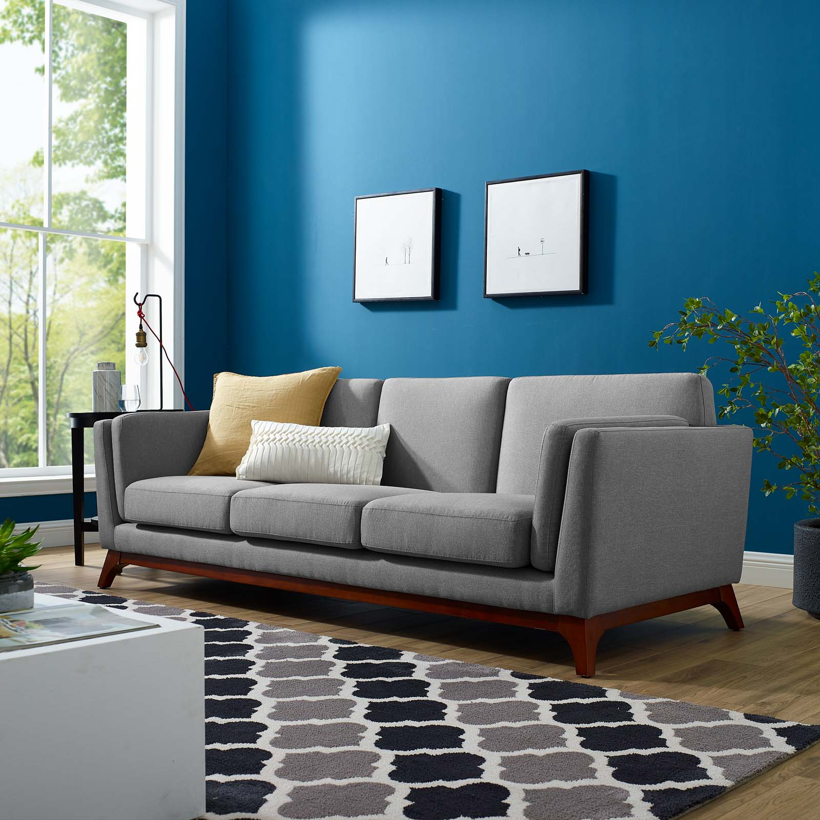 Modway Chance Fabric Upholstered Sofa, Multiple Colors Throughout Fabric Sofas (View 5 of 15)