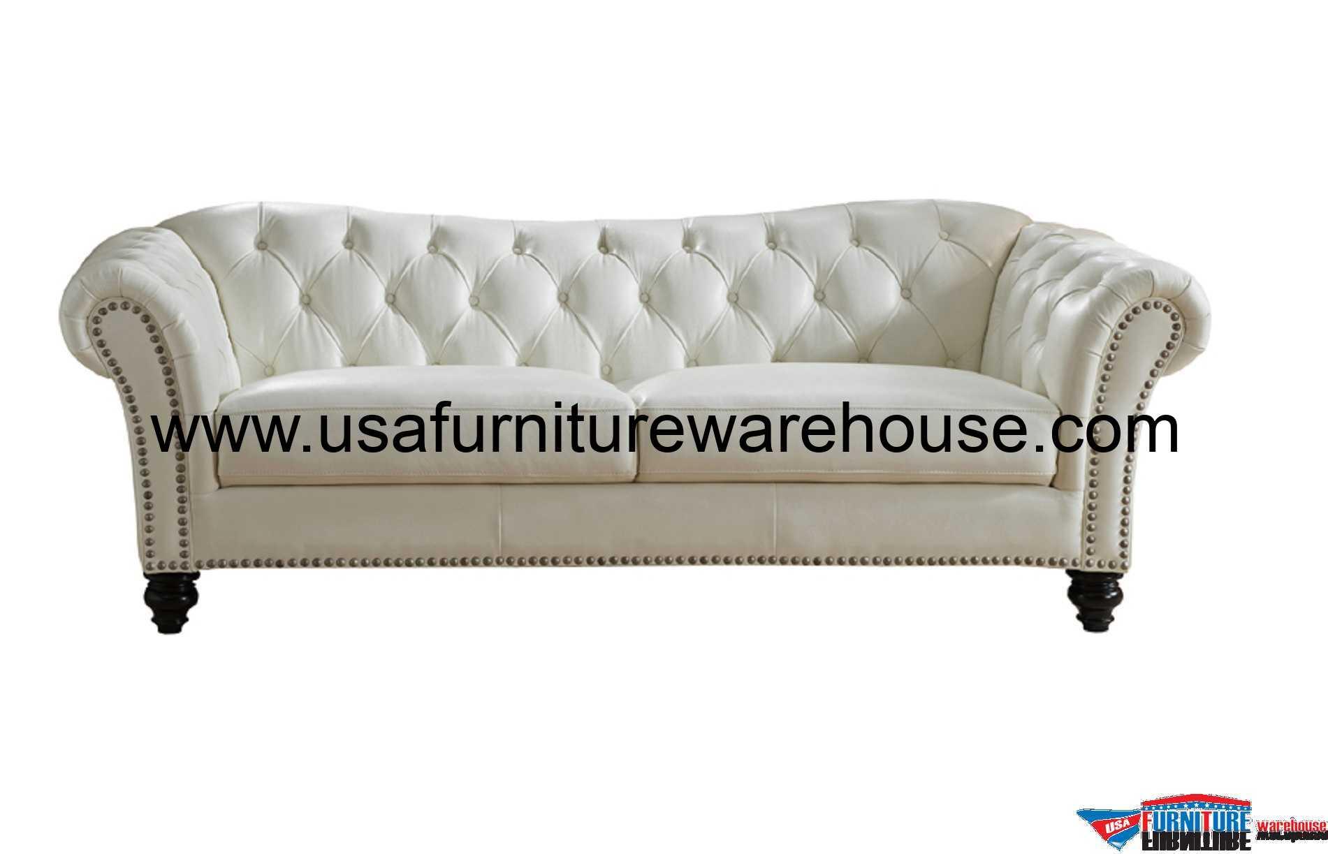 Mona Full Top Grain Ivory White Leather Sofa – Usa For White Sofa Chairs (View 11 of 15)