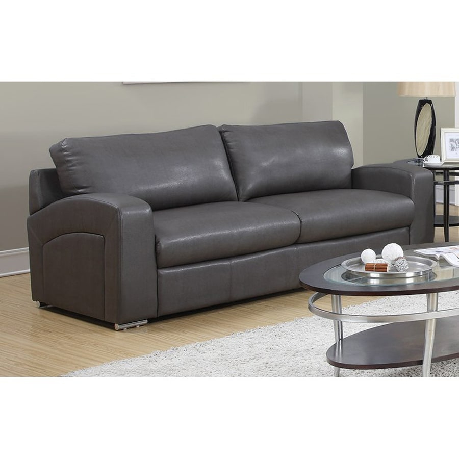 Monarch Specialties Casual Charcoal Grey Faux Leather Sofa Intended For Charcoal Grey Sofas (View 9 of 15)