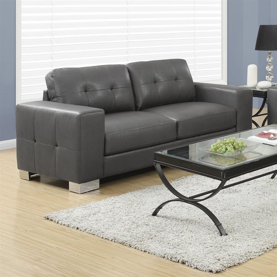 Monarch Specialties Modern Charcoal Grey Faux Leather Sofa With Charcoal Grey Sofas (View 3 of 15)
