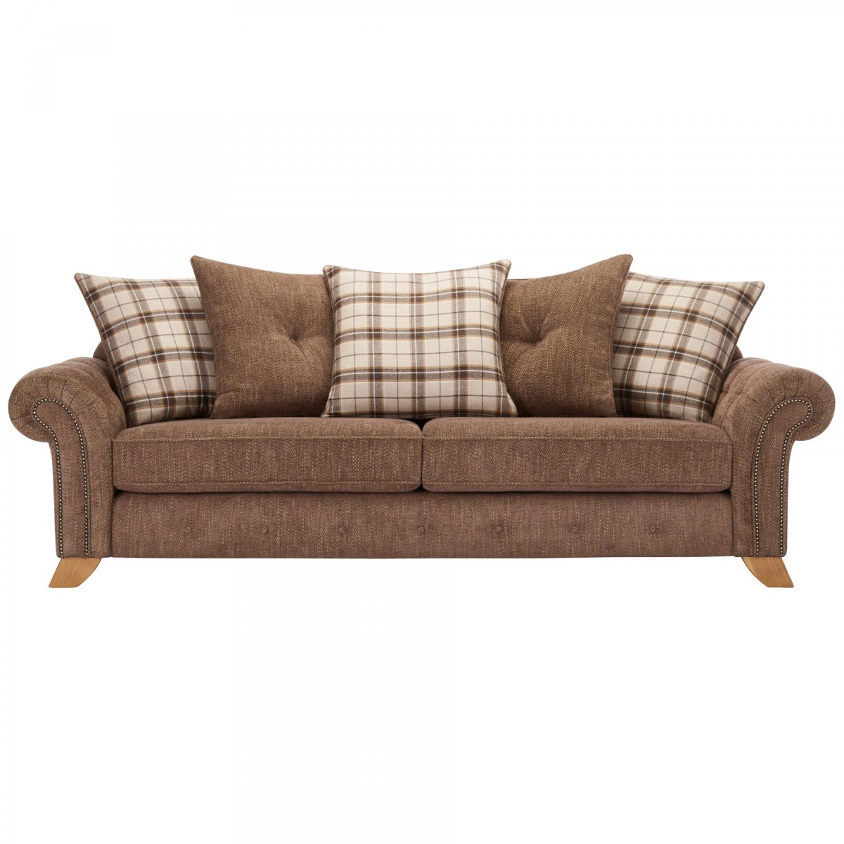 Montana 4 Seater Sofa With Pillow Back In Brown Fabric With Montana Sofas (View 9 of 15)