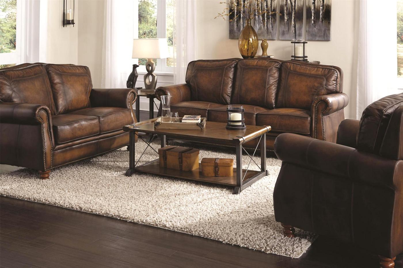 Montbrook Traditional Brown Genuine Leather Sofa Set Throughout Brown Sofa Chairs (View 7 of 15)