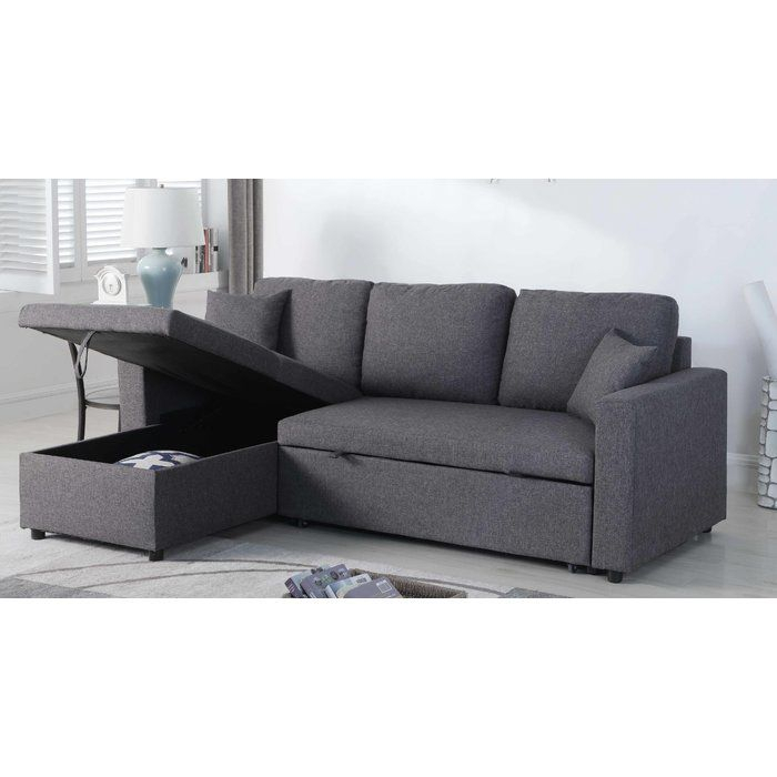 Mullaney Reversible Storage Pull Out Bed Sleeper Sectional Regarding Hugo Chenille Upholstered Storage Sectional Futon Sofas (View 3 of 15)