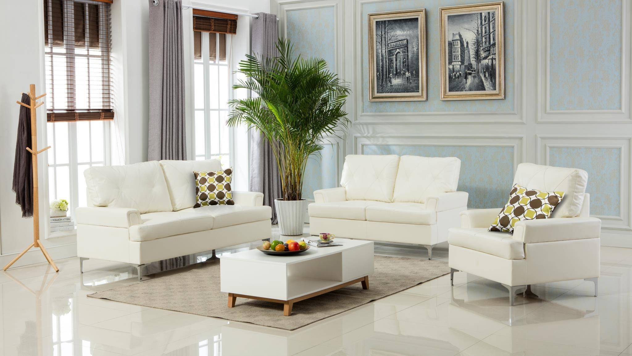 Myco Furniture Walker Modern White Bonded Leather Living For Sofa Chairs For Living Room (View 5 of 15)