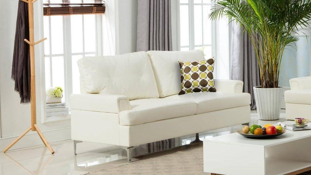 Myco Furniture Walker Modern White Bonded Leather Living Within Living Room Sofa And Chair Sets (View 13 of 15)