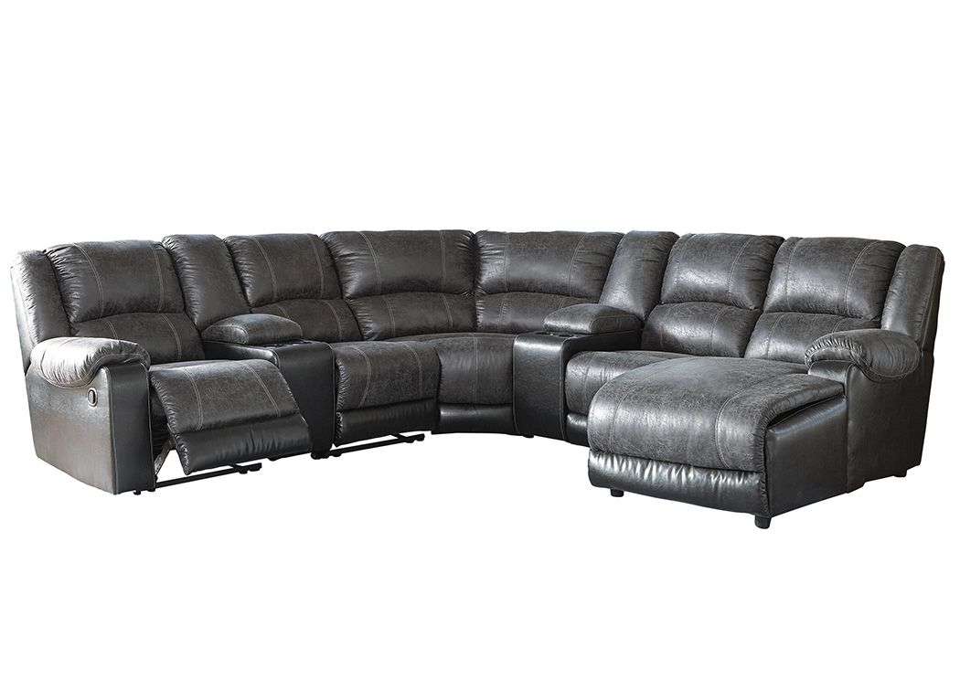 Nantahala Slate Right Facing Corner Chaise Sectional W/2 For Copenhagen Reclining Sectional Sofas With Right Storage Chaise (View 14 of 15)