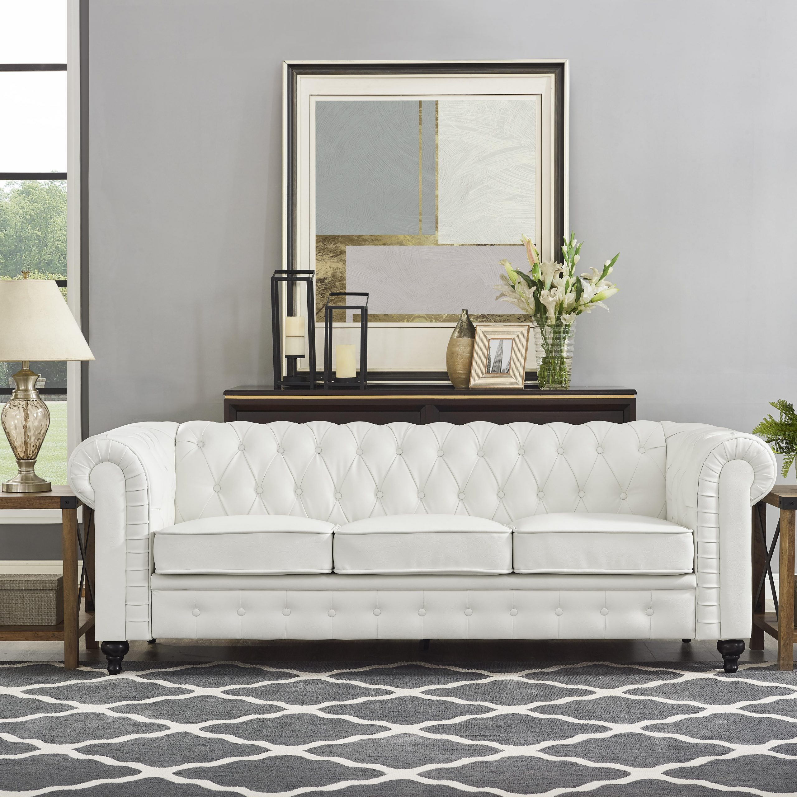 Naomi Home Emery Chesterfield Sofa & Accent Chair With Inside Chesterfield Sofas And Chairs (View 7 of 15)