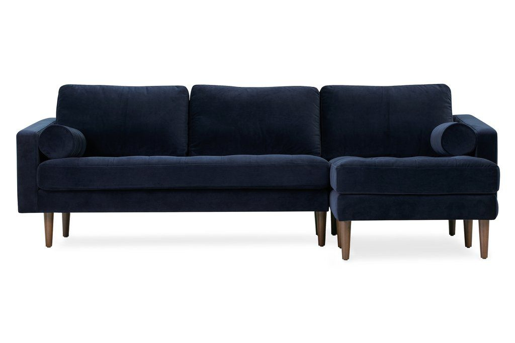Napa Velvet Right Facing Sectional Sofa | Sectional Sofa Within Somerset Velvet Mid Century Modern Right Sectional Sofas (View 6 of 15)