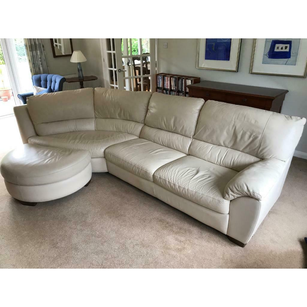 Natuzzi Cream Leather Sofa Four Seater | In Woodthorpe With Regard To 4 Seat Leather Sofas (View 8 of 15)